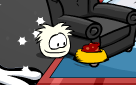 white-puffle-eating