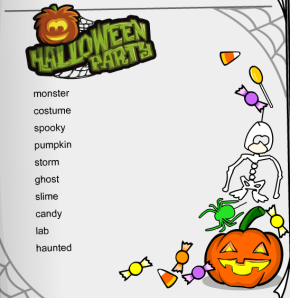 halloween party word search