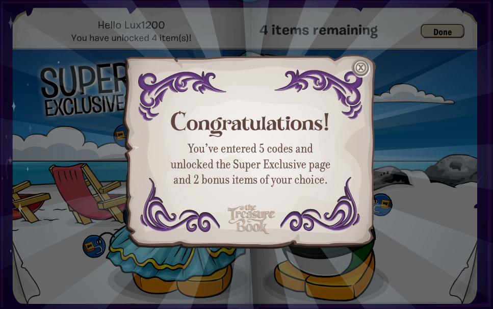 Club Penguin Treasure Book Codes